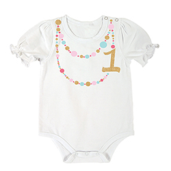 Snapshirt - Birthday w/ Gold 1 Necklace, 6-12 months