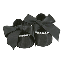 Ribbon Tie Shoes - Pearl & Black, 6-12 months