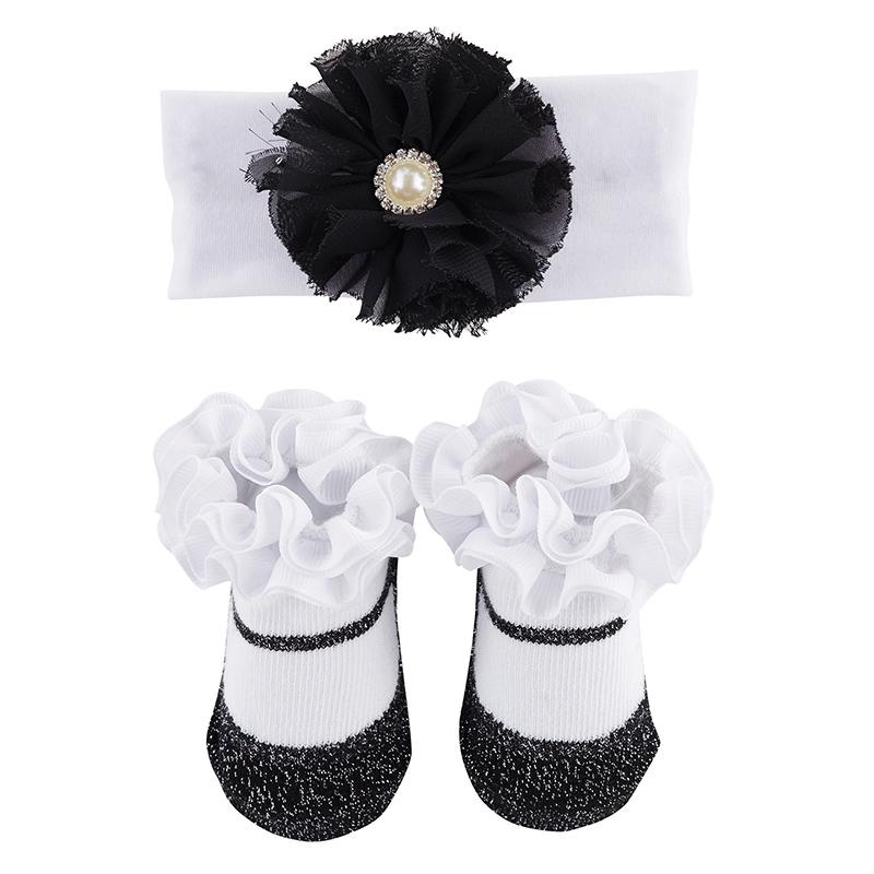 Headband & Socks Set - Black Pearl w/ Dots