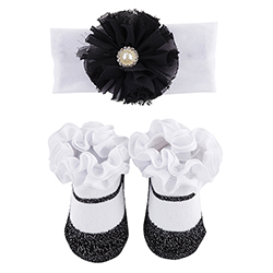Headband & Socks Set - Black Pearl w/ Dots