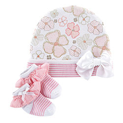 Cap & Sock Set - Playful Posies, Newborn