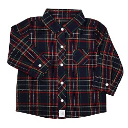 Flannel Shirt - Navy Plaid, 6-12 months