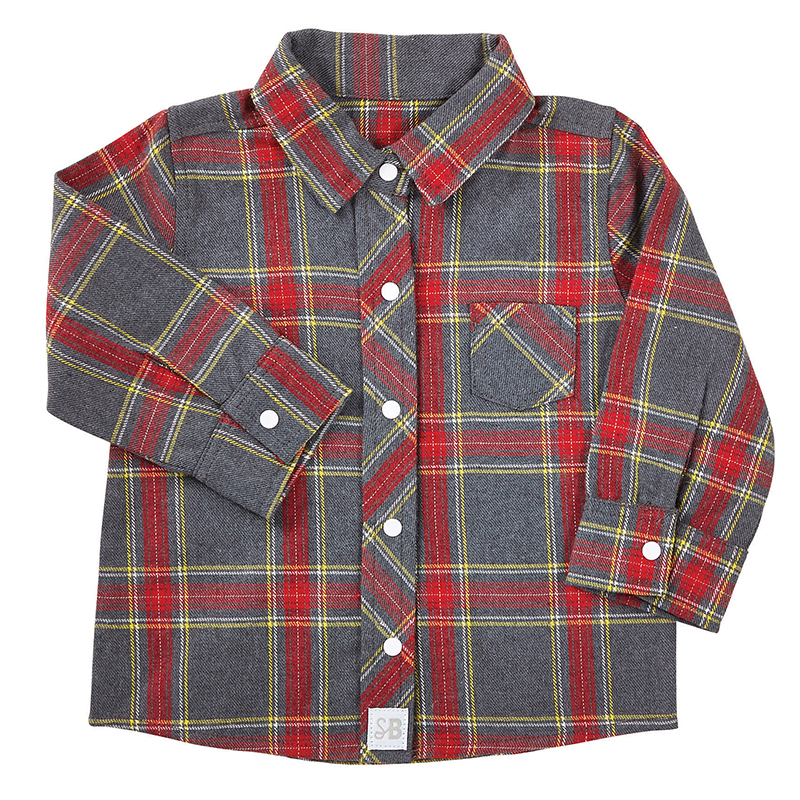 Flannel Shirt - Gray Plaid, 6-12 months