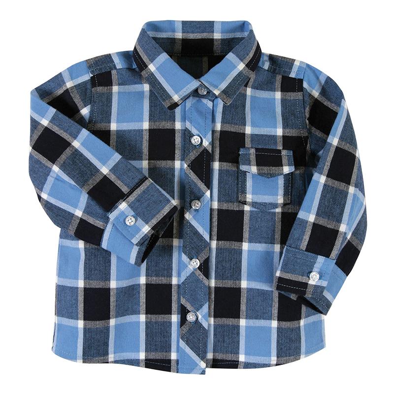 Flannel Shirt - Blue Plaid, 6-12 months
