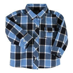 Flannel Shirt - Blue Plaid, 6-12 months