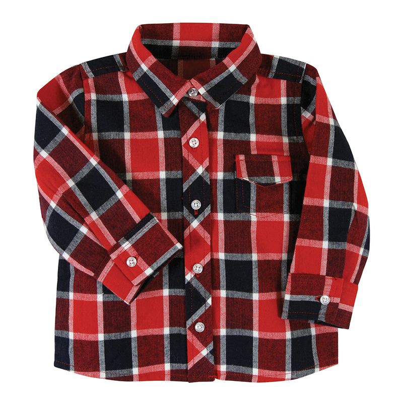 Flannel Shirt - Red Plaid, 6-12 months