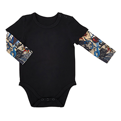 Tattoo Snapshirt - Black, 6-12 months