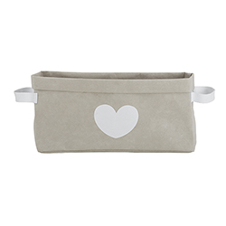 Washable Paper Storage Tote - Gray Heart