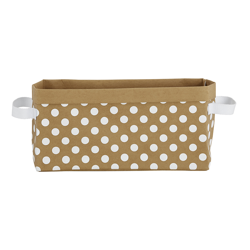 Washable Paper Storage Tote - Kraft Dot