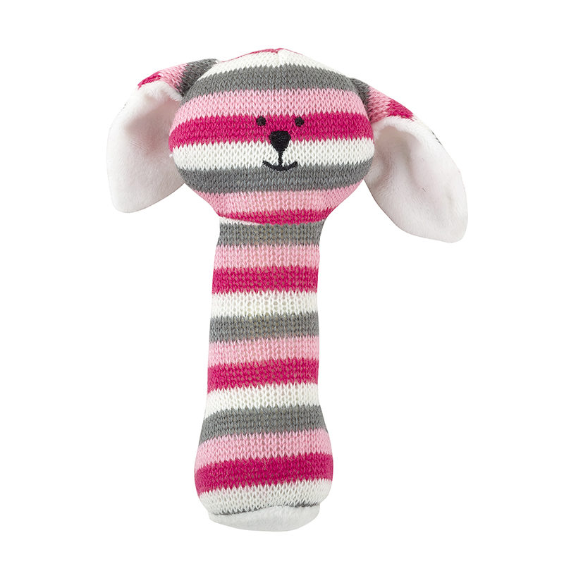 Knit Rattle - Pink Bunnie