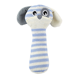 Knit Rattle - Gray/Cream Puppy