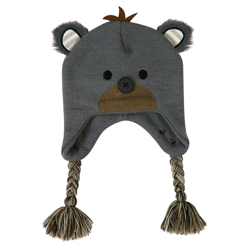 Knit Hat - Black Bear, 6-24 months