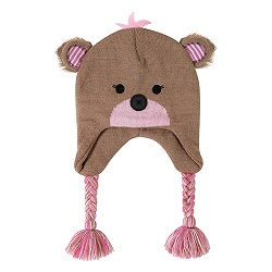 Knit Hat - Pink Bear, 6-24 months