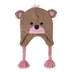 Knit Hat - Pink Bear, 6-24 months