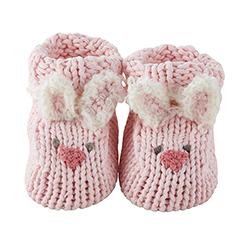 Knit Booties - Pink Bunnie, Newborn