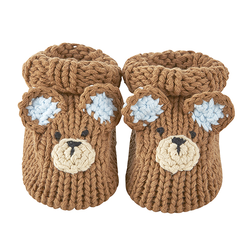 Knit Booties - Brown Bear, Newborn