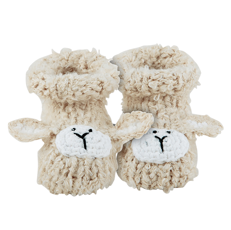 Knit Booties - Cream Lamb, Newborn