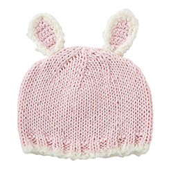 Knit Hat - Pink Bunnie, Newborn