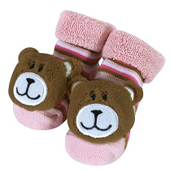 Rattle Socks - Pink Bear, 3-12 months