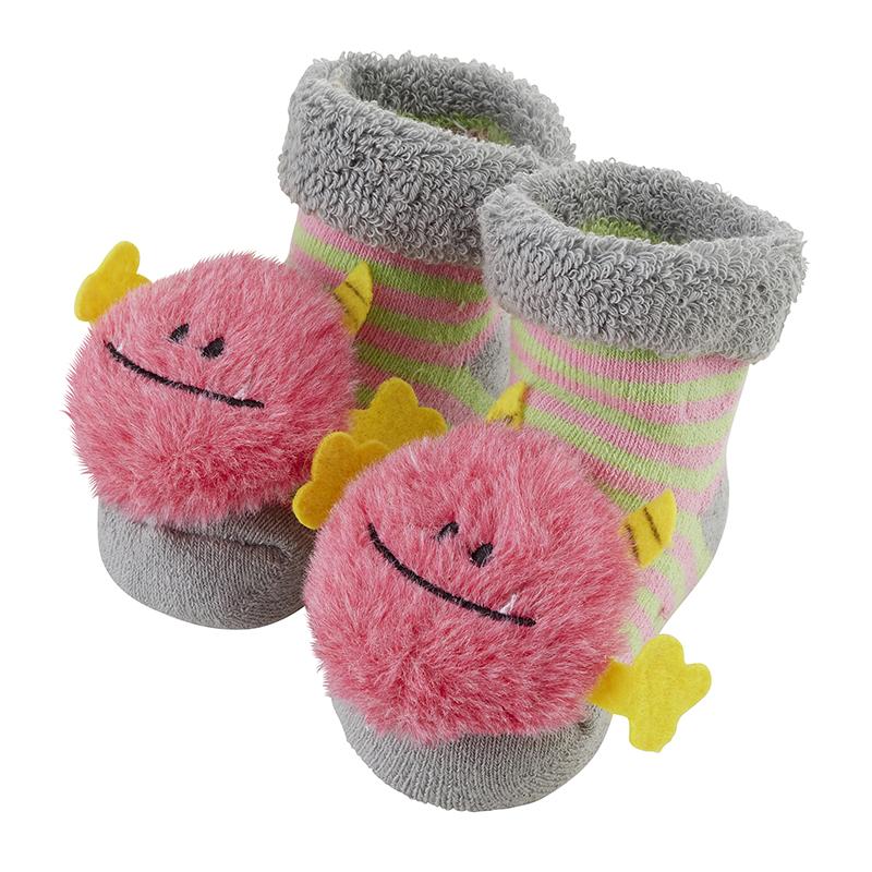Rattle Socks - Pink Monster, 3-12 months