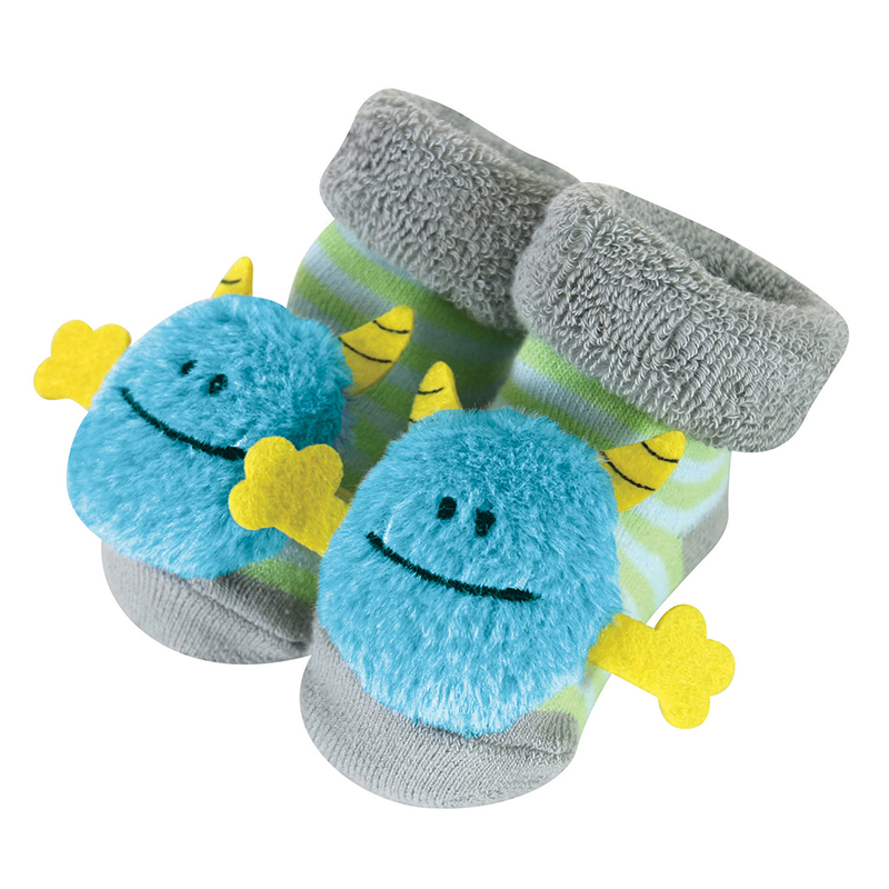 Rattle Socks - Blue Monster, 3-12 months