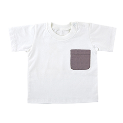 Heirloomed T-Shirt - White w/ Gray Pocket, 6-12 months