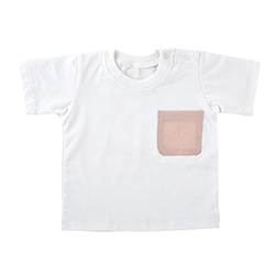 Heirloomed T-Shirt - White w/ Pink Pocket, 6-12 months