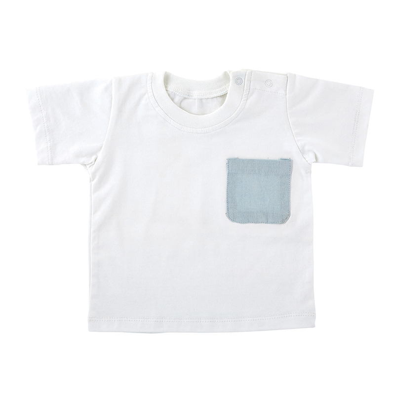 Heirloomed T-Shirt - White w/ Blue Pocket, 6-12 months