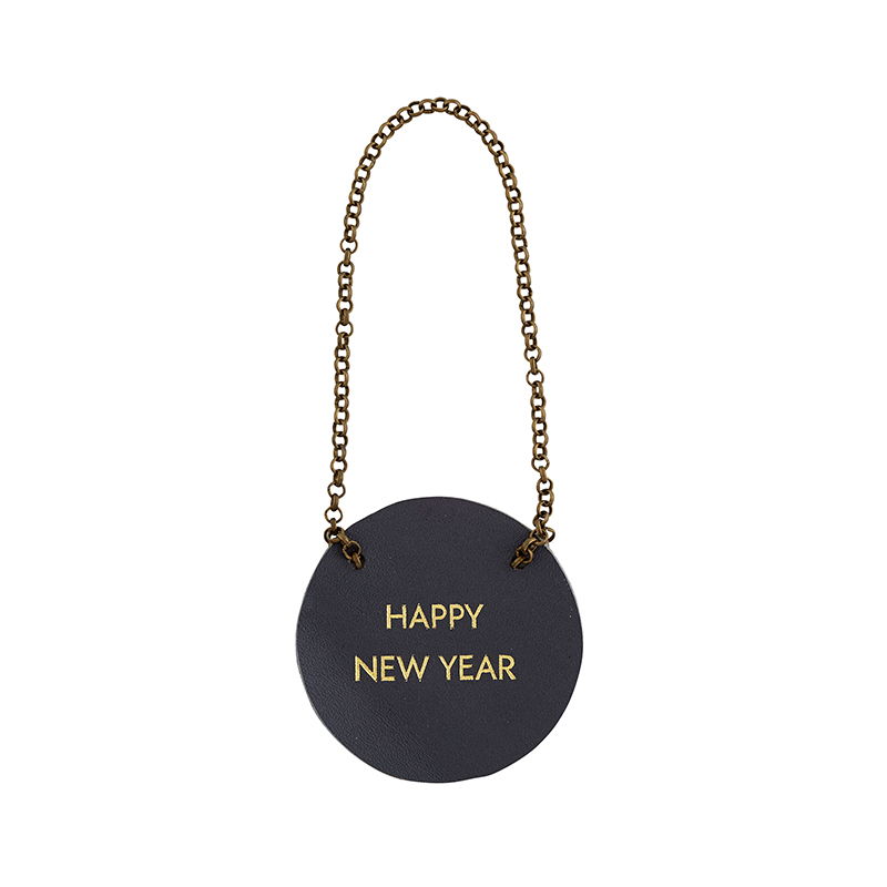 Leather Bottle Tag - Happy New Year