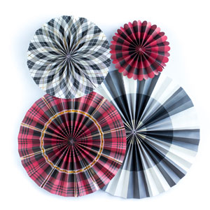 Plaid Party Fans - Set of 4