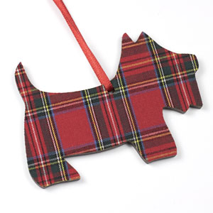 Red Tartan Scottie Ornament