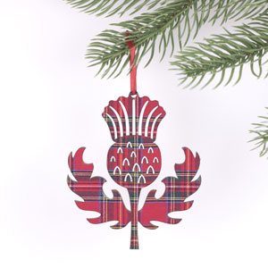 Red Tartan Thistle Ornament