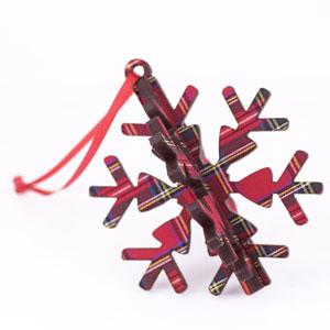 3D Red Tartan Snowflake Ornament