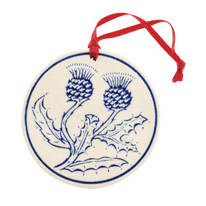 Round Thistle Ceramic Ornament