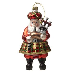 Scottish Piping Santa - 5.5 inches tall hand-blown glass ornament