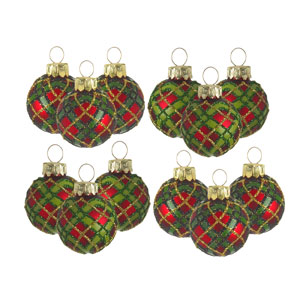 Twelve Mini Tartan Baubles for your tree