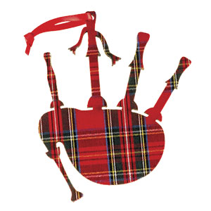 Tartan Bagpipes Wooden Ornament