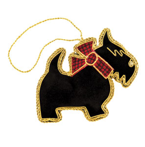 Embroidered Scottie Ornament
