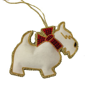 Embroidered Westie Ornament