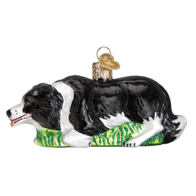 Herding Border Collie Glass Ornament
