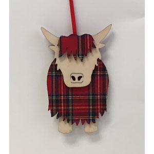Tartan & Wood Highland Cow Ornament