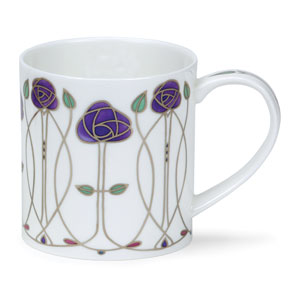 Argyle Rose in Purple and Silver - Dunoon Mug 11.8 oz.