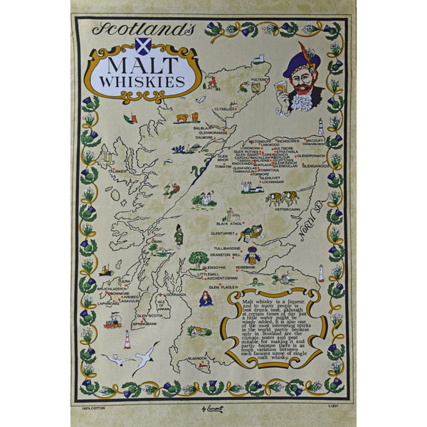 Malt Whisky Map Teatowel