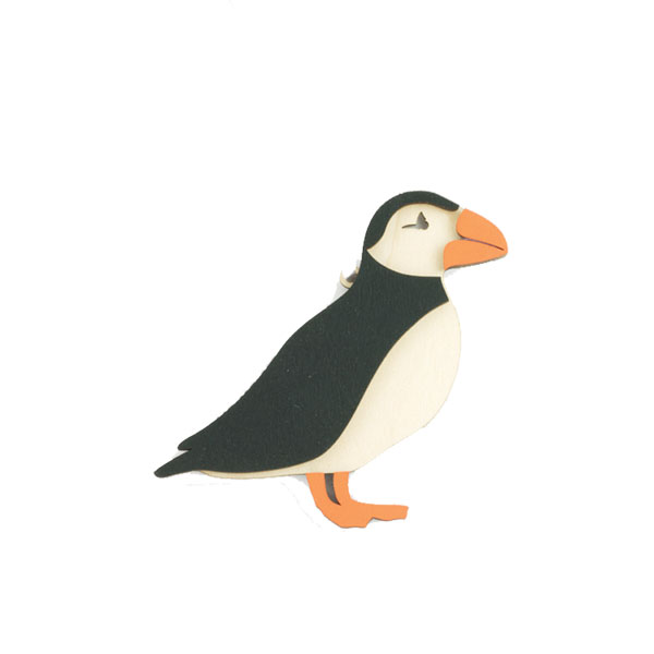 Puffin Ornament - Mixed Woods