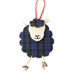 Hettie - Highland Sheep Ornament in wood & fabric