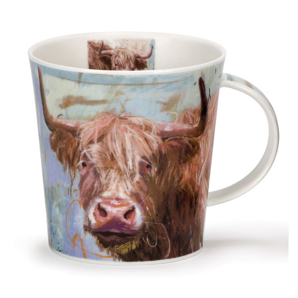 Highland Cows on Canvas Mug from Dunoon Pottery