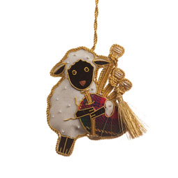 Bagpiping Sheep Ornament