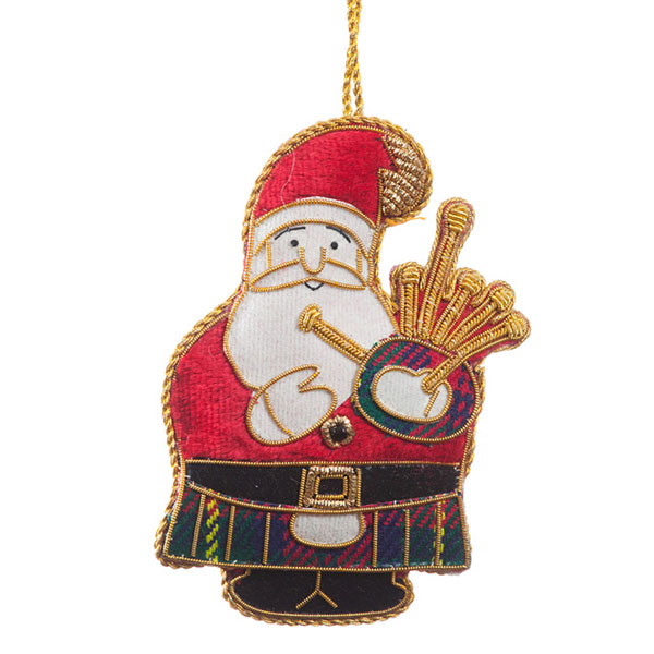 Bagpiping Santa Ornament