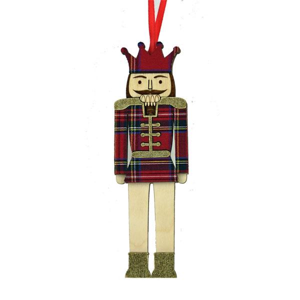 Tartan Nutcracker Ornament in wood & fabric