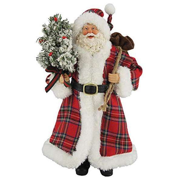 Santa with Plaid Coat & Frosted Tree - 12 inches tall
